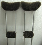 1 Pair Crutch Covers USA Made BROWN Merino Sheepskin + 1 pr Free Hand Grip Pads = 4 PC SET