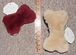 2 Sheepskin Dog Bone Pet Toys 1 Large + 1 Small JMS Products USA Made